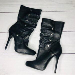 Aldo Black Snap Closure High Heel Boot